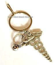 Silver Caduceus Stethoscope Keychain Doctor Nurse Medical Gift RN LPN MD ARNP DO