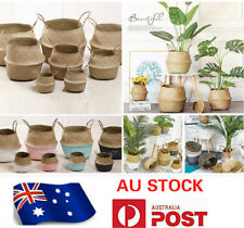 NATURAL SEAGRASS FLOWER BASKET FOLABLE BELLY STORAGE HOLDER PLANT POT BAG 002