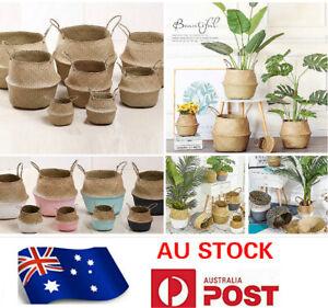 NATURAL SEAGRASS FLOWER BASKET FOLABLE BELLY STORAGE HOLDER PLANT POT BAG 002