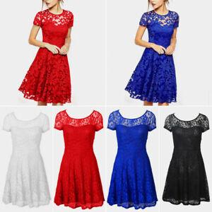 Womens Ladies Lace Mini Dress Plus Size Evening Party Cocktail Dresses Plus Size