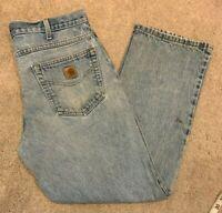 Mens Carhartt Traditional Fit Denim Blue Jeans (Size W36 L30) L14