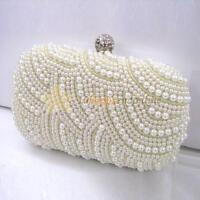 Lady Clutch Bag Handmade Pearl Beaded Party Bridal Handbag Wedding Evening Purse