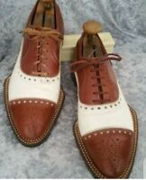 Handmade Men's Brown & White Two Tone Brogues Style Dress/Formal Leather Shoes