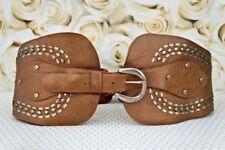 CALLEEN CORDERO Belt Studded Metallic Brown Leather Corset 28