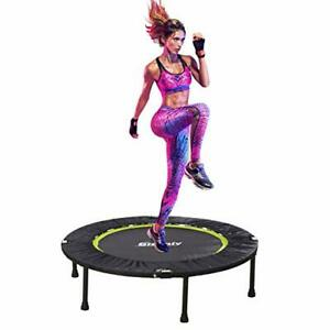 Foldable Fitness Trampoline, Silent Bungee Rebounder Trampoline With Handle Bar