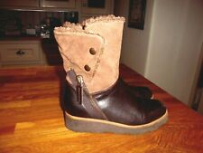 Clarks brown leather & suede above ankle boots faux fur lined 3 cm wedge UK  4.5