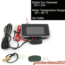 Portable 9-36V Vehicle LCD Screen Digital Water Temp/Voltmeter Gauge 56* 97*14mm
