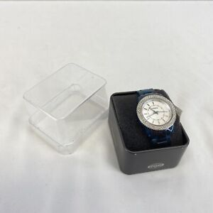 Fossil Wrist Watch for Women Blue Band Jeweled Face Refurbished