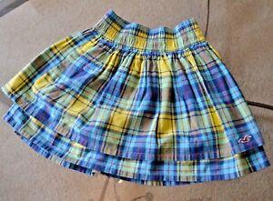 HOLLISTER Womens Skirt A line Layered Blue Yellow Tartan Check Sz. XS  W25 L14