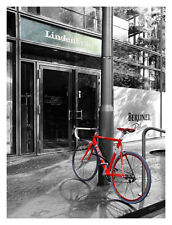 Berlin Street View With Red Bike 12x16 Fine Art Print, Cycling Cityscape