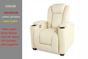 Sofa Electric Recliner Cool LED Lighting USB Chair Leather 1 Seater OKIN Motor
