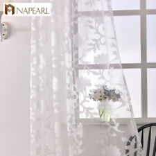 NAPEARL 1 Panel Transparent Sheer Curtains Floral Jacquard Window Shades Drapes