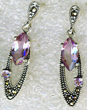 "925 Sterling Silver Amethyst & Marcasite Drop / Dangle Earrings 30mm  (1.1/5"")"