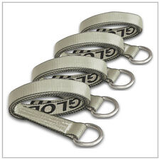 """Four (4x) 2"""" x 8 ft Silver Lasso Straps w/ O- RIngs Wheel Tie Down Rugged Weave"""