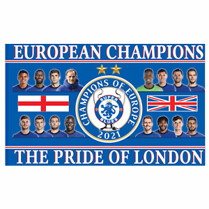 Giant Chelsea 2021 Champions League Winners Souvenir Football Flag (5ft x 3ft)