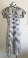 VINTAGE 60S CHEEKY CREAM & BLUE PATTERNED RETRO M&S MOD HIPPY SHIRT DRESS 12