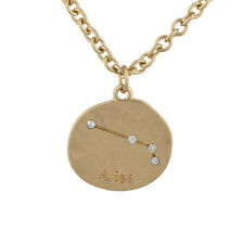 Lux Accessories Gold Tone Crystal Aries Zodiac Constellation Horoscope Necklace