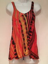 FREE PEOPLE KNIT TOP SLEEVELESS ORANGE BLACK MULTI COLOR CAMI STYLE SIZE XS EUC