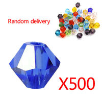 500Pcs 6Mm Glass Crystal Mixed Color Acrylic Faceted Round Spacer Loose Beads