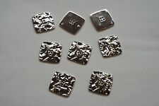 8pc 25mm Bright Silver Crumpled Metal Effect Coat Cardigan Knitwear Button 3681