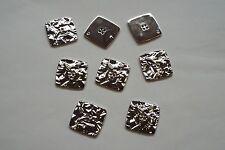 10pc 15mm Brillo Plata Arrugado Efecto De Metal Abrigo Cardigan De Punto Botón 3683
