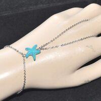 Chaîne de main bracelet bague acier (coul argent ) étoile de mer bleu bijou
