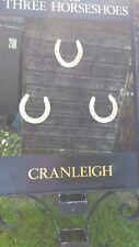 Large 6ft  Vintage Salvaged Black Wrought Iron Pub Sign The Three Horseshoes