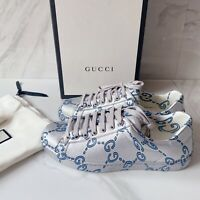 GUCCI ACE GG Monogram Blue LOGO Mens Sneaker Coated Silver Leather UK 6 US 6.5