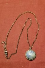 Silver Backing on a Dark Silver Chain Handmade Blue Lapis Gemstone on a Dark