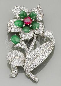 3.50ct NATURAL ROUND DIAMOND EMERALD RUBY GEMSTONE 14K SOLID WHITE GOLD BROOCH