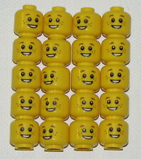LEGO LOT OF 20 NEW YELLOW MINIFIGURE HEADS WITH FRECKLES OPEN SMILE PART