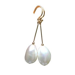 Natural White 10-11x15.5-16mm Baroque Freshwater pearl AAAA earrings 45.4mm E322