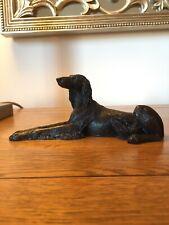 More details for saluki - bronze figurine / persian hound / sight hound / dog sculpture