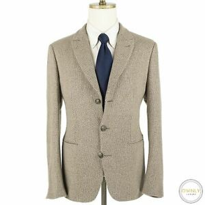 LNWOT CURRENT Giorgio Armani Brown 95% Cashmere Knit Shawl Sweater Jacket 40S