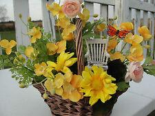 Mothers Day Gift Retirement Silk Basket Arrangement Rocking Chair Yellow Daisy