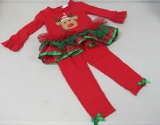 Emily Rose Boutique Christmas Outfit Red w/Reindeer Ruffle Tulle/Glitter 2T NEW