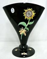 FENTON ART GLASS HAND PAINTED BLACK FAN SHAPE VASE WITH SUNFLOWER  SIGNED & NUMB