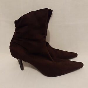 Women's Ankle Boots Size 7 Target Brown Faux Suede 9cm Heel Zip Closure Pointed