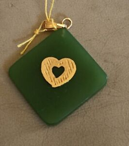 Vintage Gold Filled Bale Natural Green Jade Diamond Shape With Heart Pendant