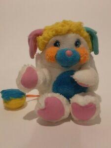 "Vintage Mattel Popples 12"" Puffball White Blue Pink Yellow Plush CLEAN"