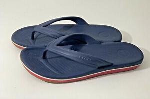 Mens CROCS Navy Blue/ Red Flip Flops Size 8 (M8 -W10) (Box 5)