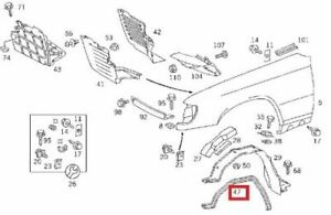 1078840198 Genuine Mercedes R107 W124 PARTITION PANEL TO FRONT FENDER SEAL