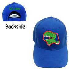 Youth Kid size Dinosaurs Face Blue Baseball Cap with Kid's Name on the Back