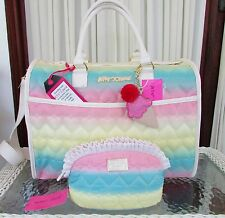 Betsey Johnson Rainbow Be Mine Weekender Duffle Travel Bag Cosmetic Set NWT