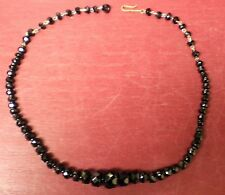 VINTAGE WESTERN GERMANY BLACK GLASS MOURNING NECKLACE #2