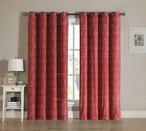 Red Grommet Window Curtain Panel Two Piece Set: White Embroidered Swirl Design