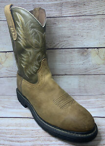 Ariat Sahara Pull-On Roper Toe Work Boots for Men - Brown 10012648 Size 10.5EE