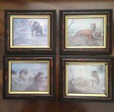 Vintage Animal Prints. Framed 6.5x5.5 Inch. Lion. Leopard. Elephant. Tiger