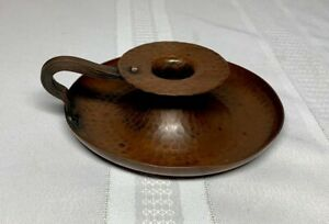 ROYCROFT, HAMMERED COPPER CHAMBER OR CANDLE STICK, CRAFTSMAN BROWN PATINA, NICE~