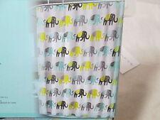 New Splash Home Bath Elephants Peva Shower Curtain 70x72 Green Blue Black & Gray
